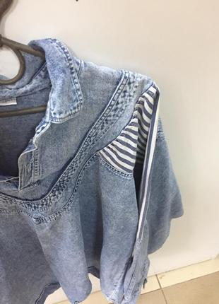 Джинсовая рубашка большого размера2