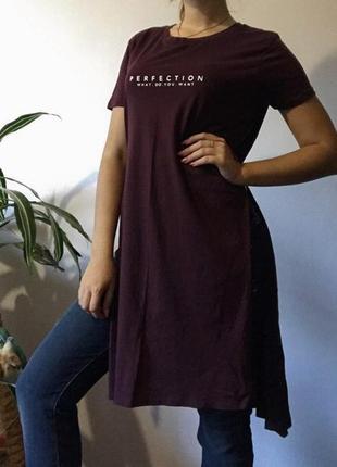 Туника длинная футболка платье с разрезами