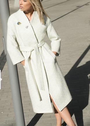 Трендовое шерстяное демисезонное пальто