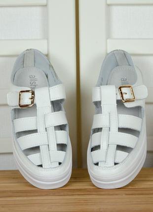 Супер цена кожаные закрытые босоножки сандалии 36-40 натуральная кожа белые