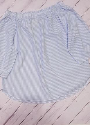 Блуза h&m со спущенными плечами. нежно голубого цвета