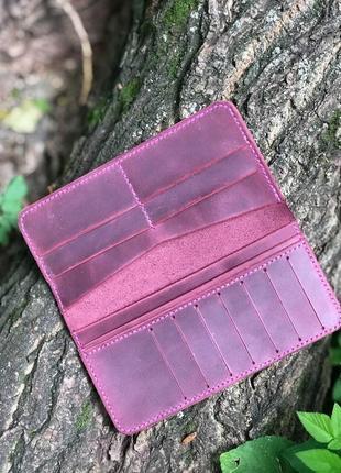 Крутой стильный кожаный кошелёк ручной работы цвета марсала
