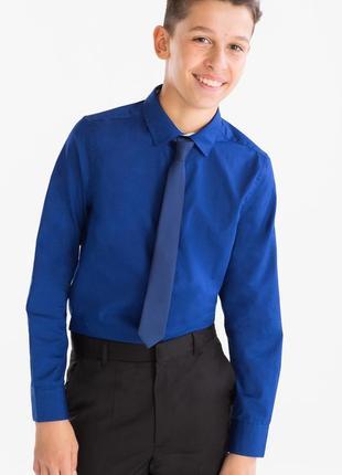 C&a here and there красивая синяя рубашка с галстуком размер 140 идеально для школы