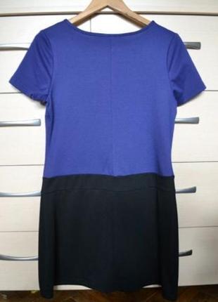 """40 р. фирменное платье """"papaya"""" для офиса/офисное черно-синее, новое"""