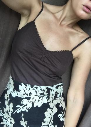 Льняной бельевой топ майка франция лен коричневый минимализм cos, mango, zara