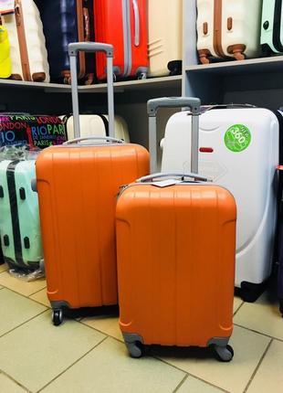 Супер цена! набор чемоданов средний + малый пластиковый оранжевый чемодан валіза