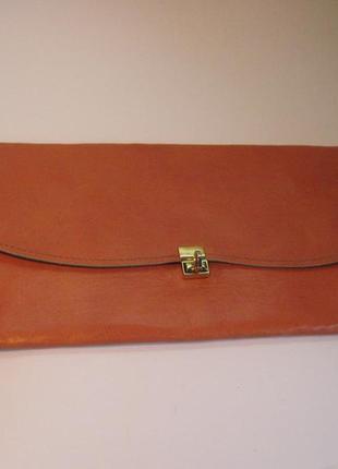 Кожаный клатч яркого цвета, сумочка, сумка натуральная кожа