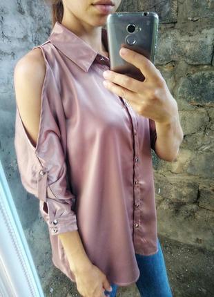 Сатиновая блуза с открытыми плечами new look