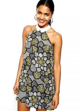 Интересное платье с белым воротничком новое river island хс,с