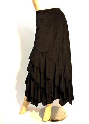 Акция!!! -50% на вторую вещь!!!! роскошная длинная черная юбка с воланами под замш
