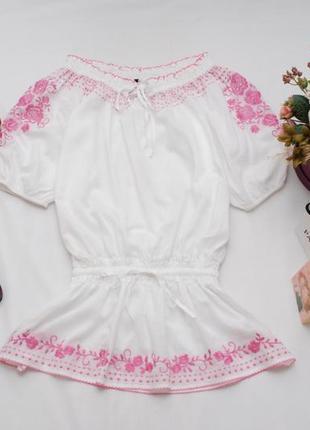 Натуральная хлопковая белая блуза с красивой вышивкой (вышиванка) m&s 14uk