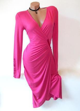 Шикарное розовое платье миди вечернее