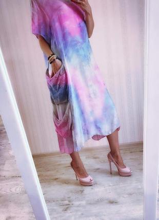 Платье шёлковое пог 65