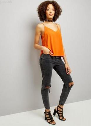 Яркая неоновая оранжевая шифоновая майка/маечка/блуза/блузка topshop