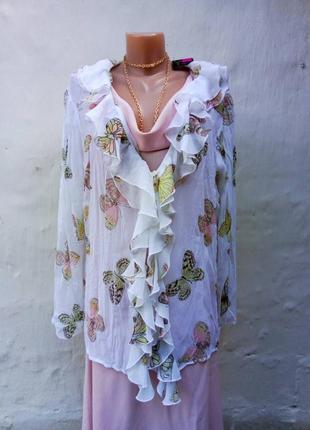 Нежная комфортная легкая бела блуза кардиган в принт бабочки,батл.