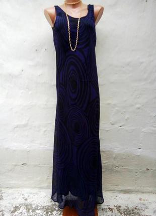 Красивое нежное легкое черное платье в пол с синим узором,вискоза.