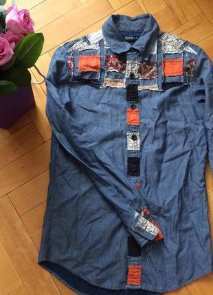 Крутая рубашка джинсовая