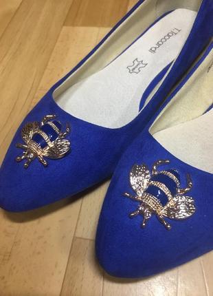 Балетки замшевые,синие с острым носком