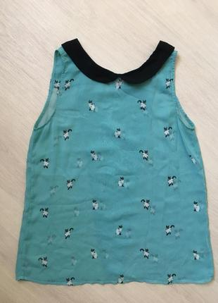 Стильная блуза кофточка топ с принтом коты pull and bear