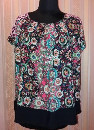 Удобная, стильная, легкая туника, блуза цветочный рисунок, вискоза