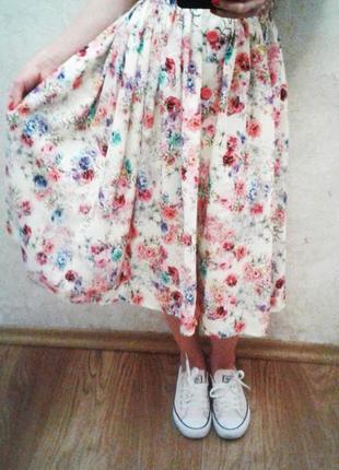 Натуральные юбочки миди, цветные и однотонные, xs-xxxl
