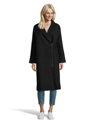 Тренд. пальто косуха оверсайз 80% шерсть, mexx. чёрное. eu38 (s/m)