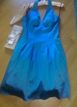 Бирюзовое коктейльное  платье