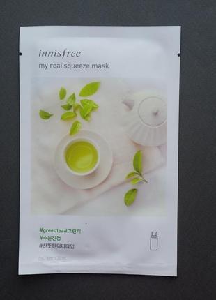 Тканевая маска innisfree my real squeeze mask - green tea