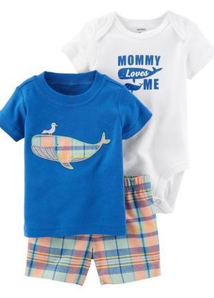 Розпродаж!!! комплект боді футболка шорти для хлопчиків боди шорты carter's 9м 18м 24м