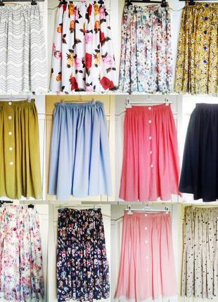 Распродажа! 12 расцветок,юбки миди, натуральные, вискоза+хлопок, от xs до xxxl