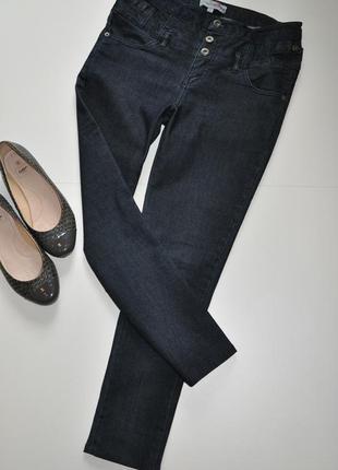 Темно синие джинсы скинни на высокой посадке