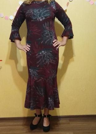 Фиолетовое трикотажное длинное платье