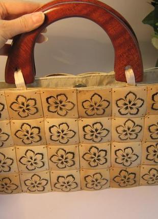 Летняя сумка кошелка с натурального дерева