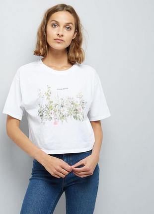 """Короткая футболка с цветами хлопок """"now or never"""""""
