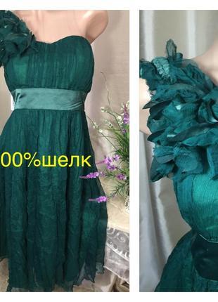 Лондон/ малахитовое шелковое платье из pure нежного натурального шелка