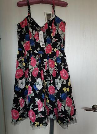 Платье сарафан в красивый цветочный принт