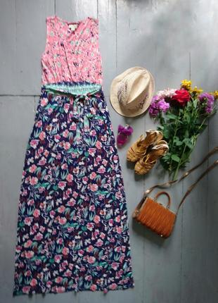 Яркое макси платье цветочный принт №532