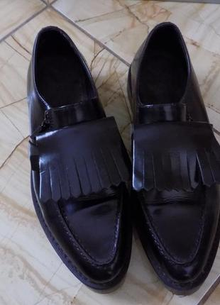 100% оригинал diesel 300€ черные кожаные туфли  25-25,5 см по стельке2 фото