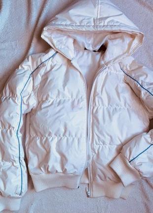 Белый ультра тёплый пуховик зимняя куртка
