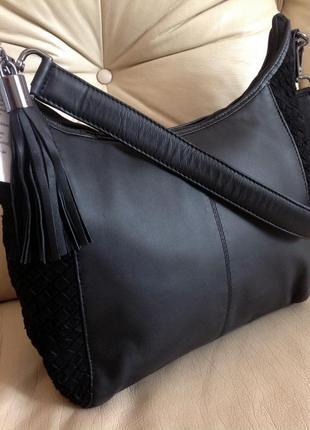 Шикарная замшевая + кожаная сумка - китица – германия – новая