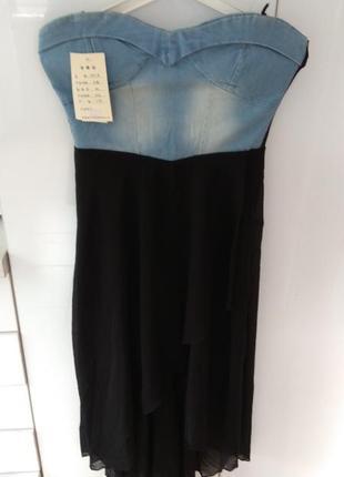 Джинсовое платье с шифоновой юбкой