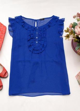 Синяя шифоновая блуза с рюшами f&f 14uk