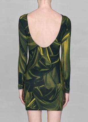 Платье короткое хлопковое зеленое мини m 38