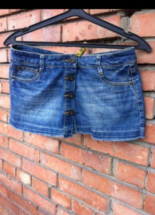 Крутая джинсовая мини юбка