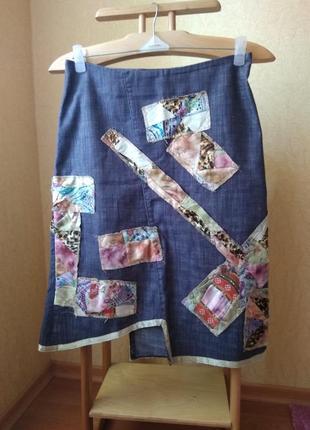 Vipart оригинальная джинсовая юбка асимметрия в стиле бохо