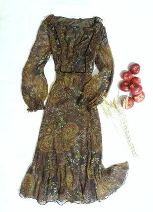 Шелковое платье с длинным рукавом от zara,s-l