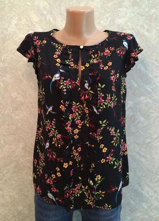 Блуза с рюшами в цветы птички
