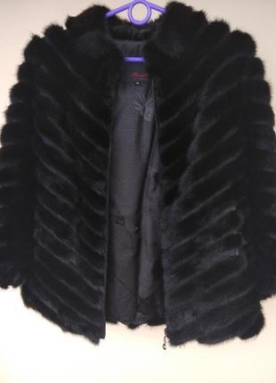 Полушубок шуба из хвостиков норки меховая куртка высокие перчатки в подарок