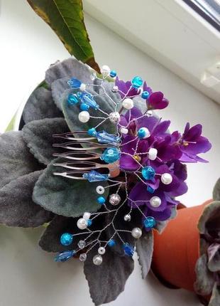 Милое украшение для волос гребень голубой