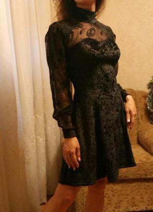 Вечернее бархатное платье с рукавами сеточкой панбархат